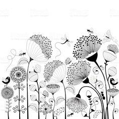 Card with black and white flowers Schwarze und weiße Blumen Lizenzfreies vektor illustration The post Card with black and white flowers appeared first on Ideas Flowers. Black And White Flowers, White Art, Clipart Black And White, Black White, Doodle Drawings, Doodle Art, Floral Illustrations, Illustration Art, Watercolor Horse