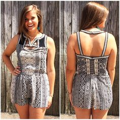 This romper has awesome detail in the front and the back!