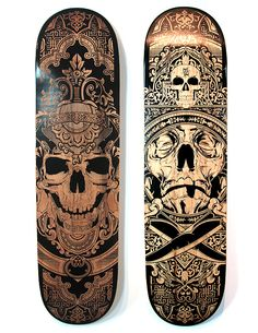 Laser Etched Skateboards by Joshua M. Smith, via Behance Skateboard Deck Art, Skateboard Design, La Santa Muerte Tattoo, Skate Long, Bmx Girl, Skate And Destroy, Coffee And Cigarettes, Skate Art, Skate Decks