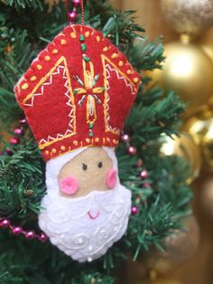 Hand Embroidered Saint Nicholas Felt Plushie Ornament ~ Ready to Ship by… Christmas Ornaments To Make, Christmas Makes, How To Make Ornaments, Felt Ornaments, Christmas Holidays, Christmas Crafts, Winter Holidays, Christmas Ideas, St Nicholas Day