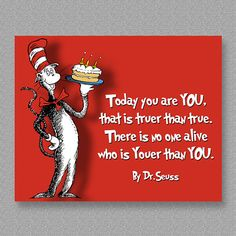 Dr. Seuss Quote Birthday Wall Art Print  Printable by CustomBazaar
