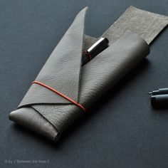 No-sew Leather Pencil Case by // Between the Lines //, via Flickr