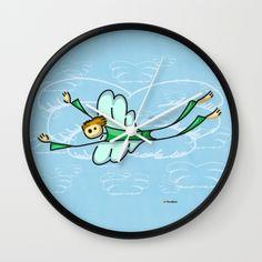 Angel Wall Clock#funny #artwork #drawing #art #thesbirù #comic #cartoon #puppet #society6 #society6art #artprint #mug #tshirt #duvet #pillow #shopart #children #joy #child #fun, #humor #happiness #childhood #smile #kid #illustration