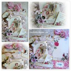 Paperbag card with pull out tag by LLC DT Member Tina Klix. Images and papers from Pion Design's Vintage Garden collection.