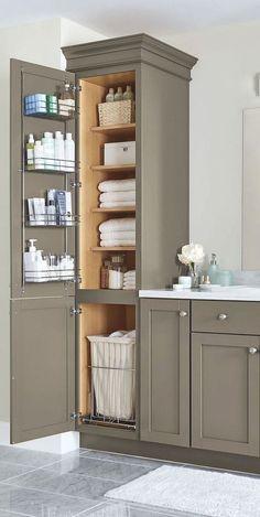 DIY Bathroom Cabinet Makeover – Home Trends 2020 Diy Bathroom Vanity, Small Bathroom Storage, Diy Bathroom Remodel, Shower Remodel, Simple Bathroom, Modern Bathroom Design, Bathroom Faucets, Bathroom Renovations, Bathroom Mirrors