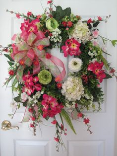 Pink Floral Wreath Front Door Wreath All Season by FunFlorals