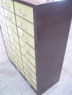 Charming Industrial Vintage COLE STEEL Metal File Parts Bin Cabinet 27 Drawers  Steampunk | 1900