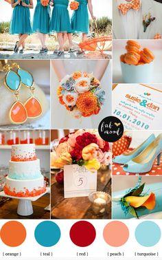 turquoise and orange beach wedding -teal turquoise beach wedding ideas | fabmood.com #weddingcolours #weddingtheme #wedding
