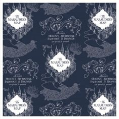 Harry Potter Fabric FLANNEL Wizarding World Marauder's Map in Navy Blue From Camelot Premium Quality Flannel Harry Potter Fabric, Harry Potter Marauders Map, The Marauders, Flannel Rag Quilts, Map Fabric, Magnificent Beasts, Harry Potter Collection, Hogwarts, Sewing Projects