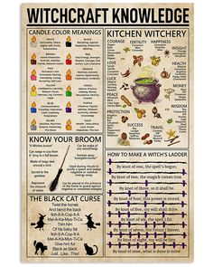 Witchcraft Witchery Knowledge Poster shirts, apparel, posters are available at TeeChip. Witchcraft Spell Books, Wiccan Spell Book, Magick Spells, Green Witchcraft, Healing Spells, Spells For Beginners, Witchcraft For Beginners, Wiccan Magic, Pagan