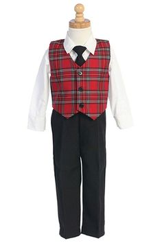 deb176506a Boys Christmas Suit - Tie Clothing 3 Pc Set - Plaid - Red - CZ11GCRR9TR