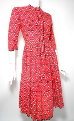 vintage Folkloric Heart Print Red Dress 1930s by DorotheasCloset