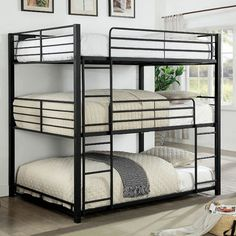 Furniture of america Carolyn triple full bunk bed full over full over full sand black metal frame industrial bunk bed Bunk Beds For Boys Room, Bunk Bed Rooms, Bunk Beds With Stairs, Kid Beds, Room Boys, Metal Bunk Beds, Modern Bunk Beds, Unique Bunk Beds, Modern Futon