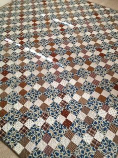 Civil War Reproduction Blue Brown Shirtings Four Patch Full Size Quilt on Etsy, $299.00