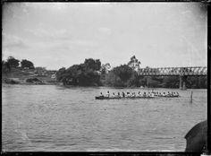 View of a Maori waka (canoe) on the Waikato River at the Ngaruawahia Regatta. Taken by Albert Percy Godber circa Original print in Godber Al. Historical Photos, Canoe, New Zealand, River, Beach, Outdoor, Image, Google Search, Maori