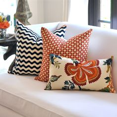 Studio Bon Ric Rac pillow cover in Midnight, Celerie Kemble Betwixt & Hot House Flowers (both in Spark)