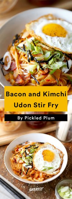 9. Bacon and Kimchi Udon Stir-Fry #greatist http://greatist.com/eat/easy-stir-fry-recipes-to-make-during-the-week