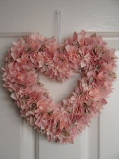 Pink Fabric Heart Wreath