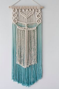 Team dip dyed macrame wall hanging Made with natural cotton rope and Tasmanian oak dowel Size: 35cm wide x 60cm long Can be hand dyed in…