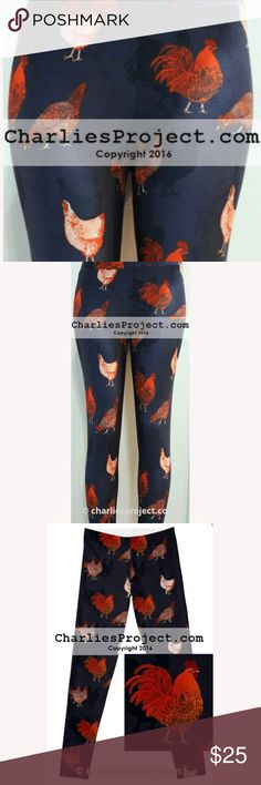 """Navy Chicken Leggings, Buttery Soft, Tall & Curvy Super buttery soft leggings in a 92% Polyester / 8% Spandex blend from Charlie's Project. Double Brushed fabric for super softness and a yoga waistband for a perfect fit.  Adorable Chickens Print on Navy background!  Size Measurements:  Tall & Curvy: Fits ladies sizes 14-22/24  Length: 37.5"""" Waist: 31"""" unstretched Charlie's Project (not Lularoe) Pants Leggings"""