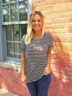 Black Striped Oversized Top