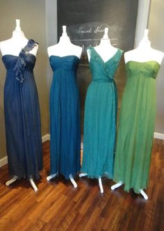 A peacock color combination for your bridesmaids dresses! If you are planning your wedding theme around the classic peacock colors, a wonderful idea is to have each bridesmaid in a different color and shade that easily blend together to create the perfect color scheme. This can work for any color scheme, and this not only allows your girls to choose their own dress styles, but also which color works the best on them!