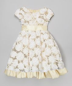 Look what I found on #zulily! Cream Lace A-Line Dress - Infant, Toddler & Girls #zulilyfinds
