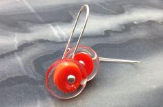 Circus earrings (orange) by Isla Osborne. Lampworked glass, silver. NZ$40 from Etsy.
