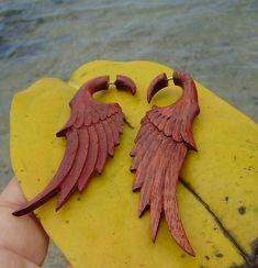 Fake gauge earringsHand Craved Natural  blood Wood by ANELAJADE, $24.99
