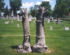 Some of the more unusual gravestones to be seen in the Belvidere  Cemetery. The tree trunks are somewhat unique for Illinois and  represent the brevity of life. The number of broken branches can  indicate deceased family members buried at that site as well.