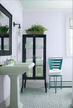 Look at the paint color combination I created with Benjamin Moore. Via @benjamin_moore. Wall: Lavender Secret 1415; Trim: Marilyn's Dress 2125-60; Chair: Teal Ocean 2049-30.