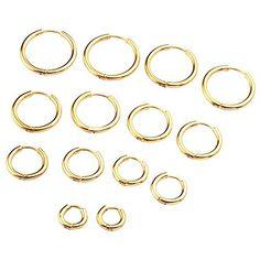 Zysta Stainless Steel Golden Small Round Tube Endless Hoop Earrings, Hypoallergenic for Cartilage, Nose, Ears, Tragus Bangles, Bracelets, Unisex, Gold Rings, Hoop Earrings, Stainless Steel, Jewelry, Black Gold, Tube