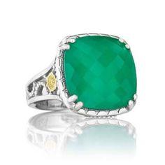 #Tacori 18K925 #SterlingSilver, 18K #YellowGold, Clear #Quartz & #GreenOnyx #Ring
