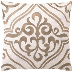 DL Rhein Tile Taupe Embroidered Linen Pillow ($70) ❤ liked on Polyvore