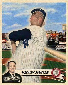 Baseball Star, Baseball Cards, The Mick, Mickey Mantle, Ny Yankees, Custom Cards, Mlb, Photos, Pictures