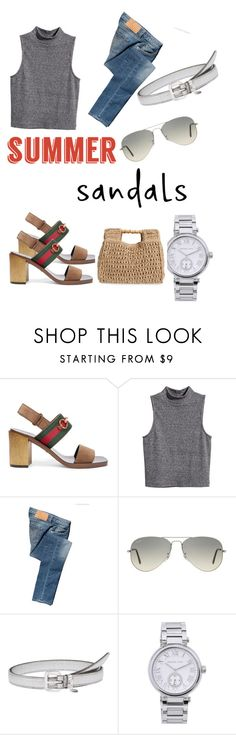 """Weekend look"" by beth-villasin ❤ liked on Polyvore featuring Gucci, H&M, Calvin Klein Jeans, Ray-Ban, Miu Miu, MICHAEL Michael Kors, San Diego Hat Co. and summersandals"