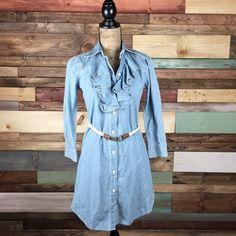 Ralph Lauren Chambray Shirt Dress Gorgeous, faded denim shirt dress, ruffle front, rope belt. NWOT. Ralph Lauren Dresses