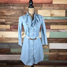Ralph Lauren Chambray Shirt Dress Gorgeous, faded denim shirt dress, ruffle front, rope belt. NWOT. Ralph Lauren Dresses