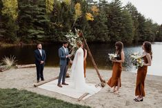 Small outdoor wedding on lake beach during the fall in the Adirondacks in Upstate New York. New York wedding packages. Upstate NY elopement packages. Lake Beach, Upstate New York, Lake George, Outdoor Weddings, New York Wedding, Bridesmaid Dresses, Wedding Dresses, Family Portraits, Elegant