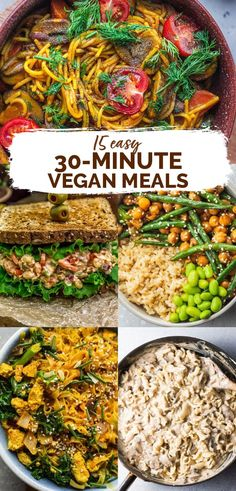15 easy vegan meals with great options for lunch, dinner and meal prep. Ideas for what to cook on a weeknight that are healthy and yummy. Lots of gluten-free and oil-free options. Quick Vegan Meals, Easy Vegan Dinner, Vegan Dinner Recipes, Healthy Meal Prep, Vegan Dinners, Vegan Recipes Easy, Whole Food Recipes, Vegetarian Recipes, Easy Meals To Cook