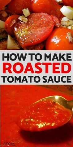 to Make Roasted Tomato Sauce Food Preservation: Learn how to make super easy roasted tomato sauce with no skinning or blanching required!Food Preservation: Learn how to make super easy roasted tomato sauce with no skinning or blanching required! Roasted Tomato Sauce, Oven Roasted Tomatoes, Homemade Tomato Sauce, How To Make Tomato Sauce, Tomato Sauce Canning, Fresh Tomato Pasta Sauce, Easy Tomato Sauce, Roasting Tomatoes For Sauce, How To Roast Tomatoes
