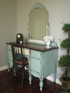 European Paint Finishes: Cottage Green Vanity ~
