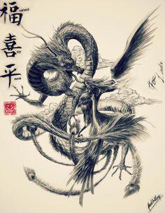 Japanese dragon and phoenix art may be my future . - Japanese art of the dragon and phoenix may be my future tattoo – Japanese art of the dragon and p - Japanese Dragon Tattoos, Japanese Tattoo Art, Japanese Art, Japanese Phoenix Tattoo, Asian Dragon Tattoo, Japanese Sleeve, Tattoo Dragon And Phoenix, Phoenix Art, Phoenix Tattoo Sleeve