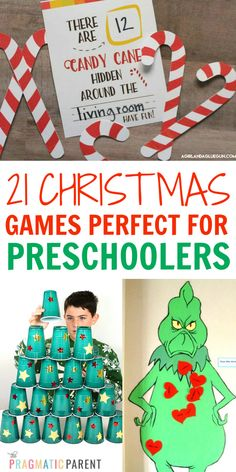 21 Best Christmas Games Perfect for Preschoolers Best Christmas Games for Preschoolers in the classroom, or at home with family during the holidays. Simple & fun Christmas Games perfect for preschoolers, but work for kids of all ages too. Preschool Christmas Games, Christmas Party Games For Kids, Xmas Games, Holiday Party Games, Preschool Games, Kids Party Games, Christmas Themes, Christmas Fun, Christmas Activities For Preschoolers