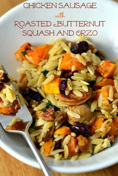 This quick and easy Chicken Sausage with Roasted Butternut Squash and Orzo dish is the perfect meal for a crisp fall weeknight! Recipe at Chew Nibble Nosh.