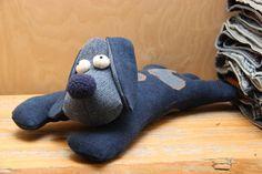 Stuffed dog , denim dog , toy dog , recycled upcycled denim toy , stuffed toy , soft dog , stuffed animals , stuffed puppy , handmade toy by SecondBirthday on Etsy