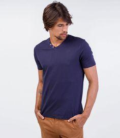 508eb8b796691 Camiseta masculina Manga longa Gola V Com botões Marca  Blue Steel Tecido   malha Composição