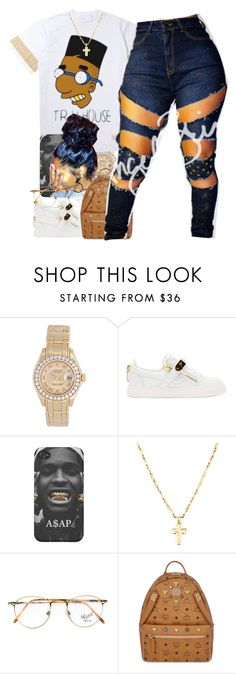 """""""Untitled #45"""" by thaofficialtrillqueen ❤ liked on Polyvore featuring Rolex, Giuseppe Zanotti, Persol and MCM"""