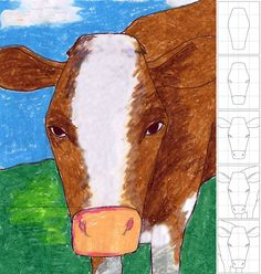 In Your Face Cow Drawing. Use a grid to help students draw LARGE. Art Projects for Kids. #cow
