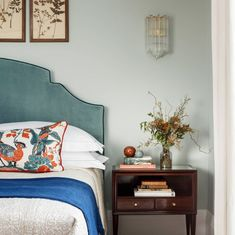 home decor blue Upholstered Teal Headboard + Cobalt Blue Blanket Throw + Cobalt Blue accents + Classic Blue Pantone Color Of the Year 2020 + Nightstand Styling + Bedroom Decor Teal Headboard, Headboard Designs, Headboard Ideas, Bamboo Headboard, Fabric Headboards, Upholstered Headboards, Blue Bedroom, Home Decor Bedroom, Design Bedroom